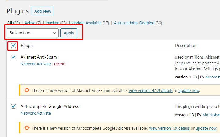 Disable all plugins in WordPress
