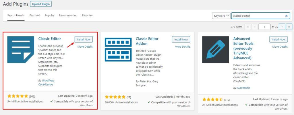 Install WordPress Classic Editor