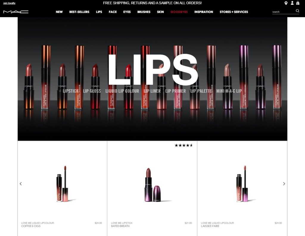 MAC Cosmetices customize woocommerce category page
