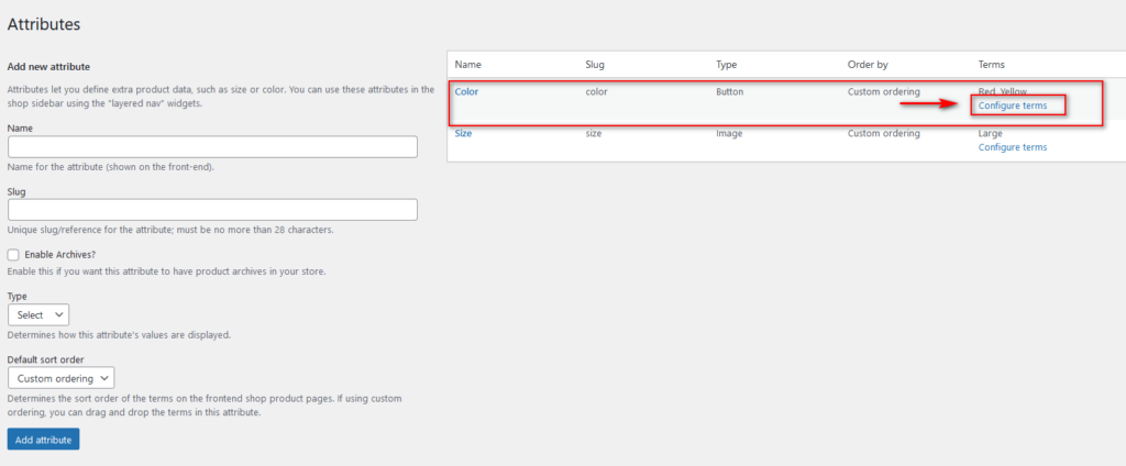 add product variations in woocommerce - global attributes configure terms
