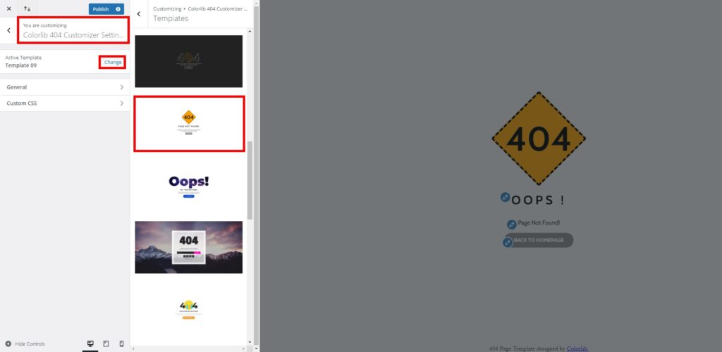 change active template 9 customize 404 page in wordpress