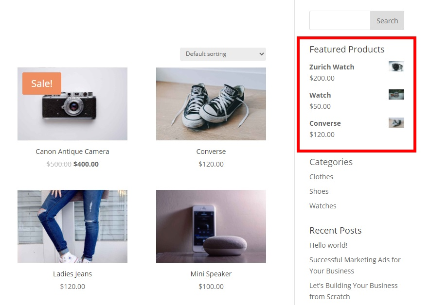 demo widget featured products in woocommerce and display them