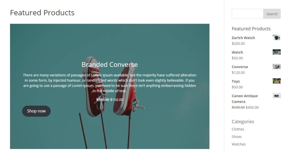 featured product page post demo set featured products in woocommerce and display them
