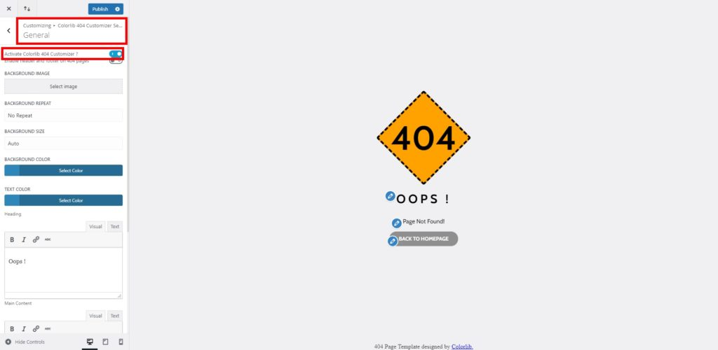 general options customize 404 page in wordpress