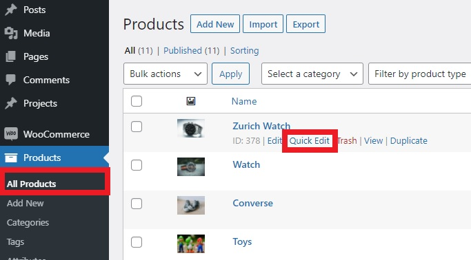 quick edit set featured products in woocommerce
