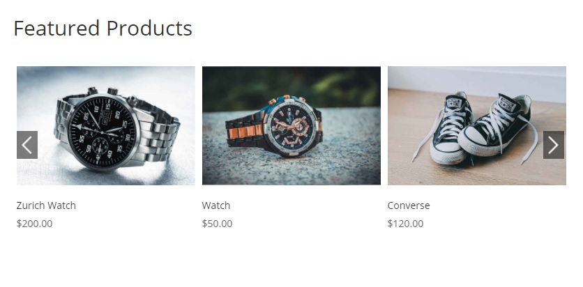 slider set featured products in woocommerce and display them