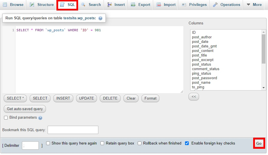 sql tab turn post into page