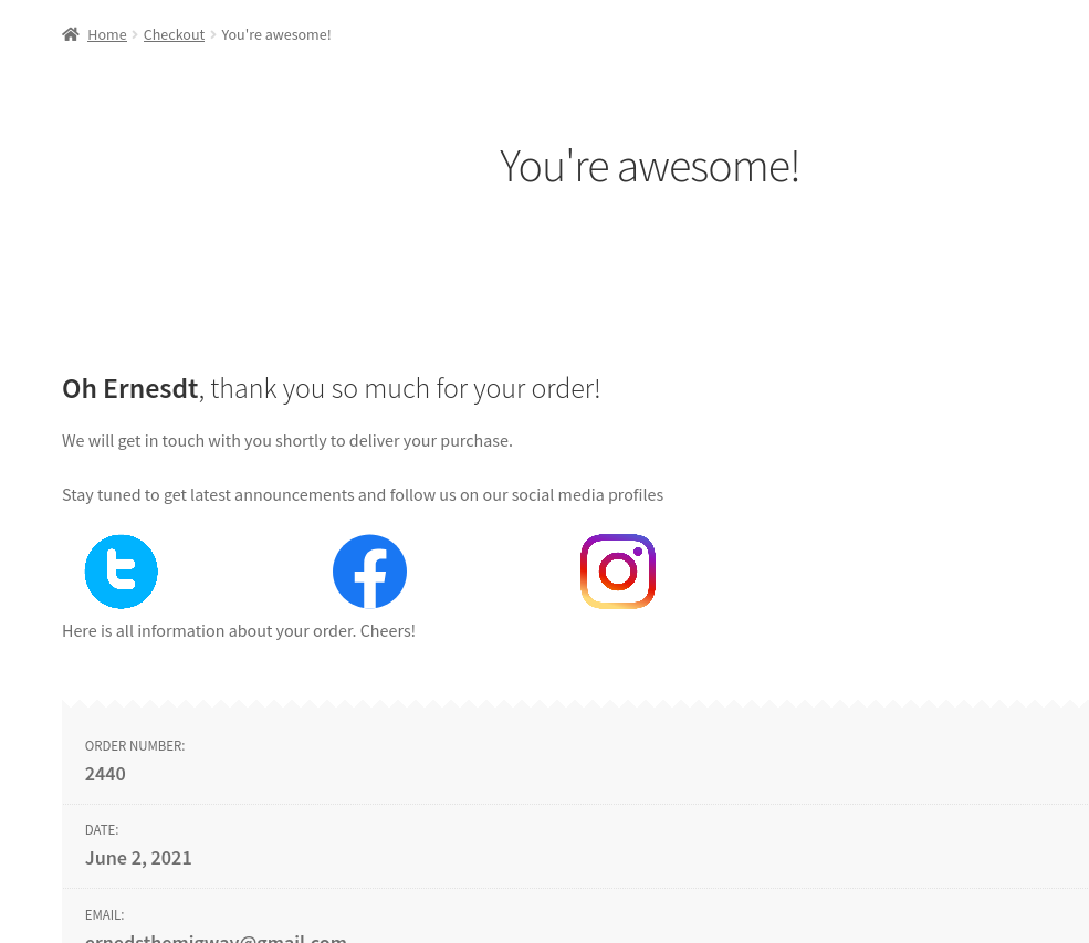 Include custom content on the thank you page