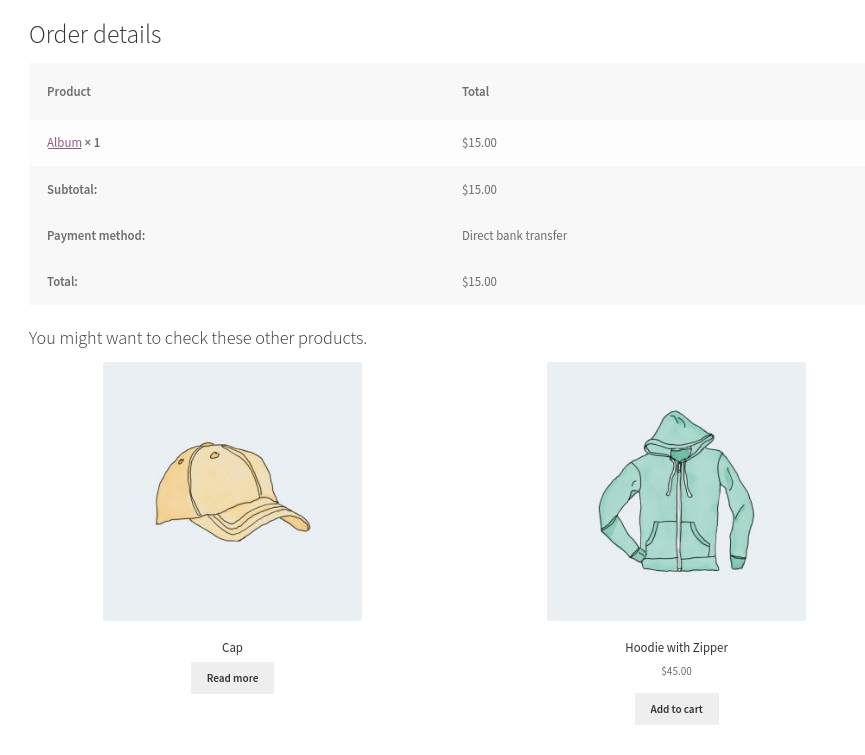 Displaying product information on the thank you page