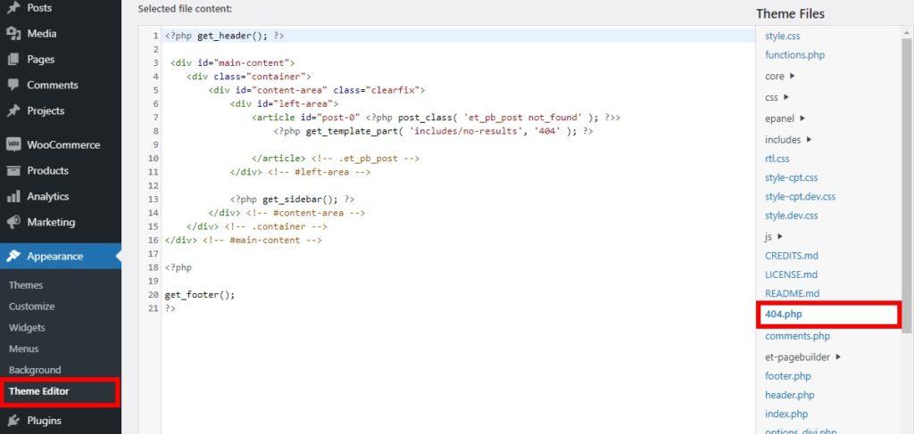 theme editor 404 file customize 404 page in wordpress