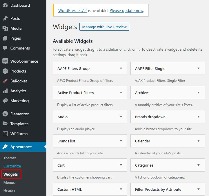 Add widgets in WordPress