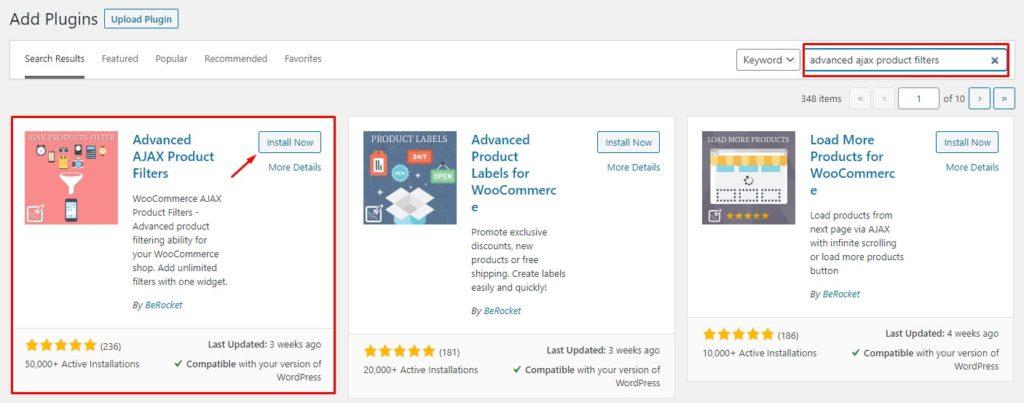 Install advance AJAX product filters plugin