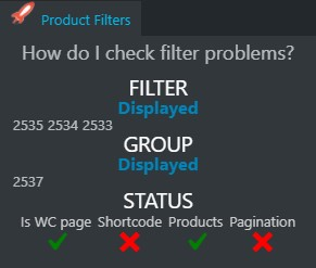 Identify filter problems