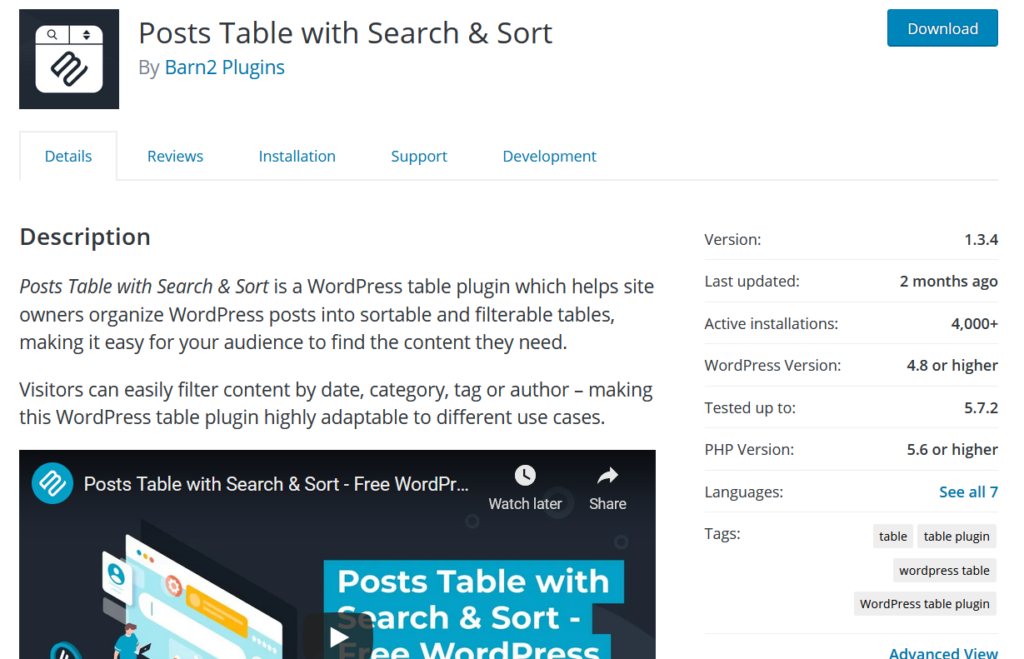 table plugins for wordpress - Posts Table with Search & Sort