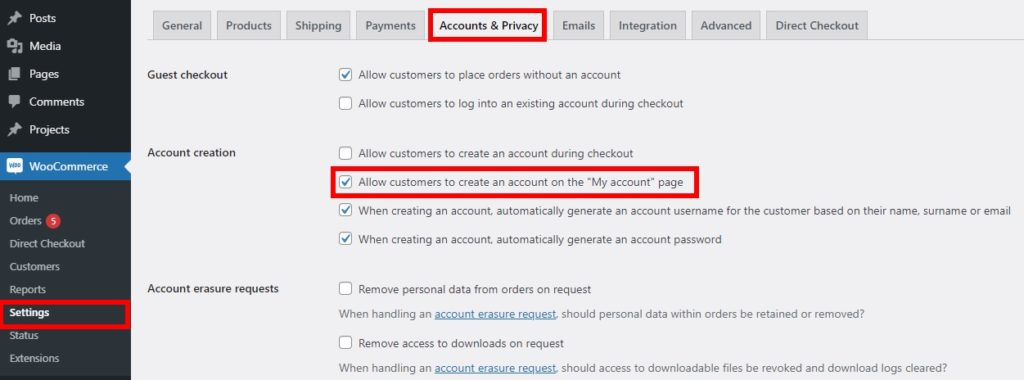 create account on my account page customize woocommerce registration form