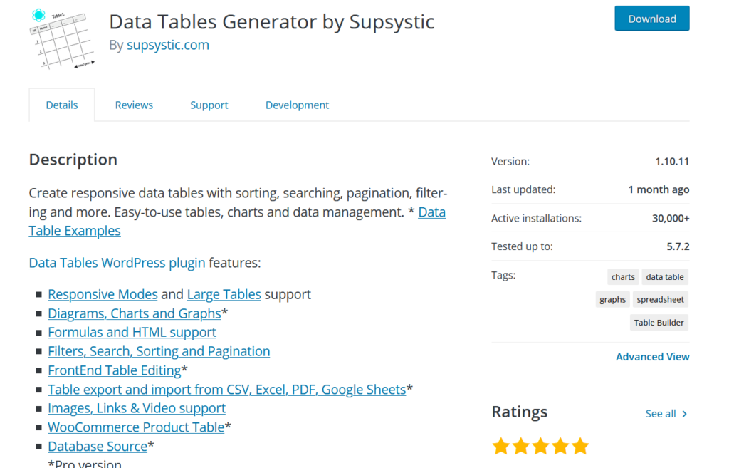best wordpress table plugins - data table by supsystic