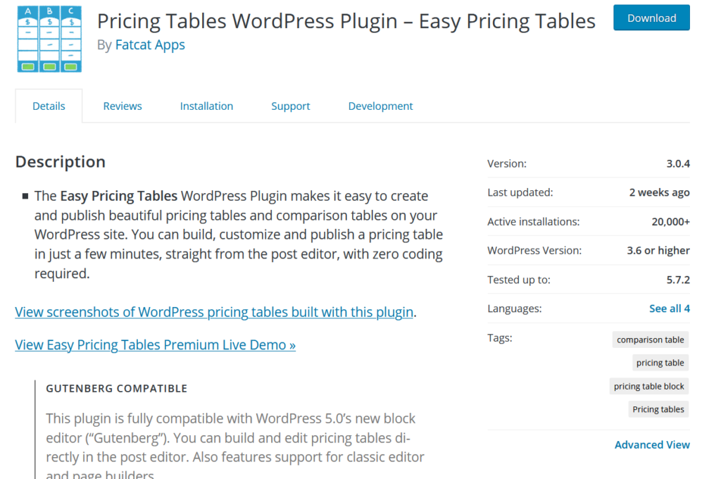 best table plugins for wordpress - easy pricing table