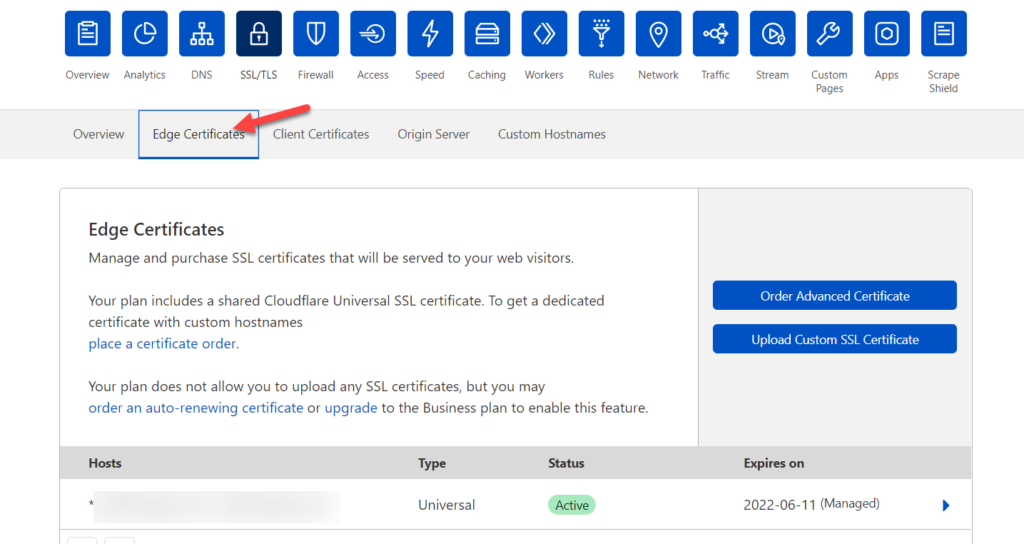 redirect a wordpress page - ssl edge certificates