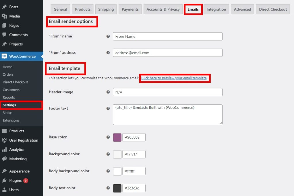 edit email template customize woocommerce registration form