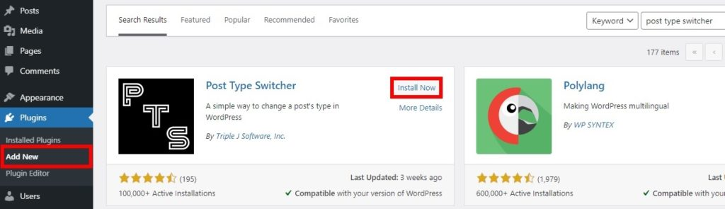 install plugin change post type in wordpress
