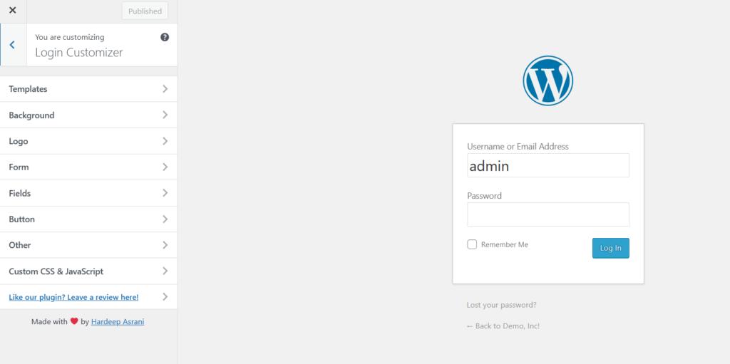 customize wordpress login page - login customizer preview