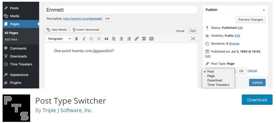 post type switcher change post type in wordpress
