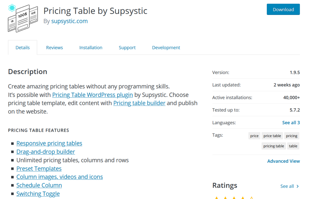 table plugins for wordpress - pricing table by supsystic
