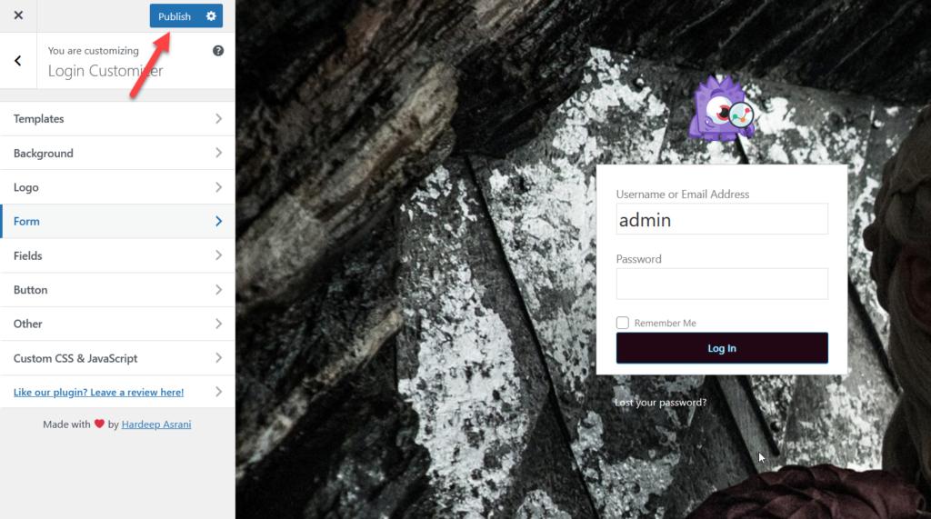 customize wordpress login page - publish updates
