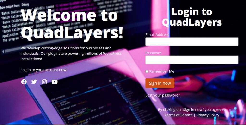 custom quadlayers login page