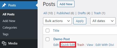 quick edit change post type in wordpress