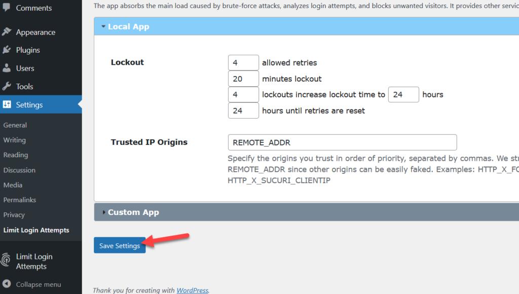 limit login attempts save settings