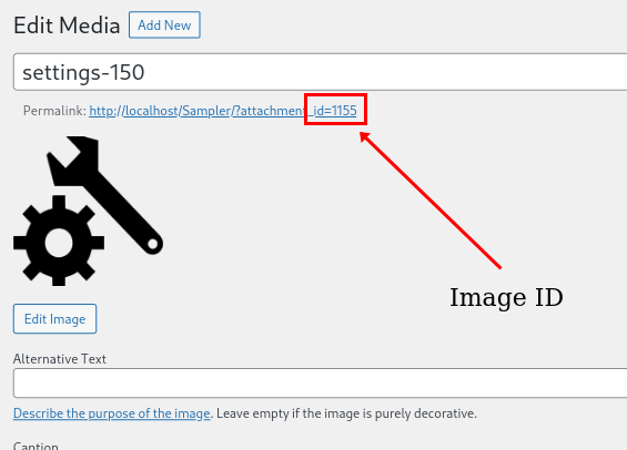 Add shortcodes in WordPress - Image ID in media library