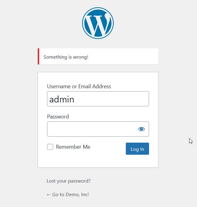 something is wrong wordpress login error