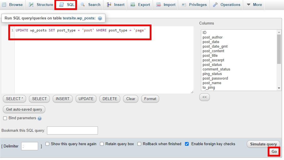 sql query change post type in wordpress