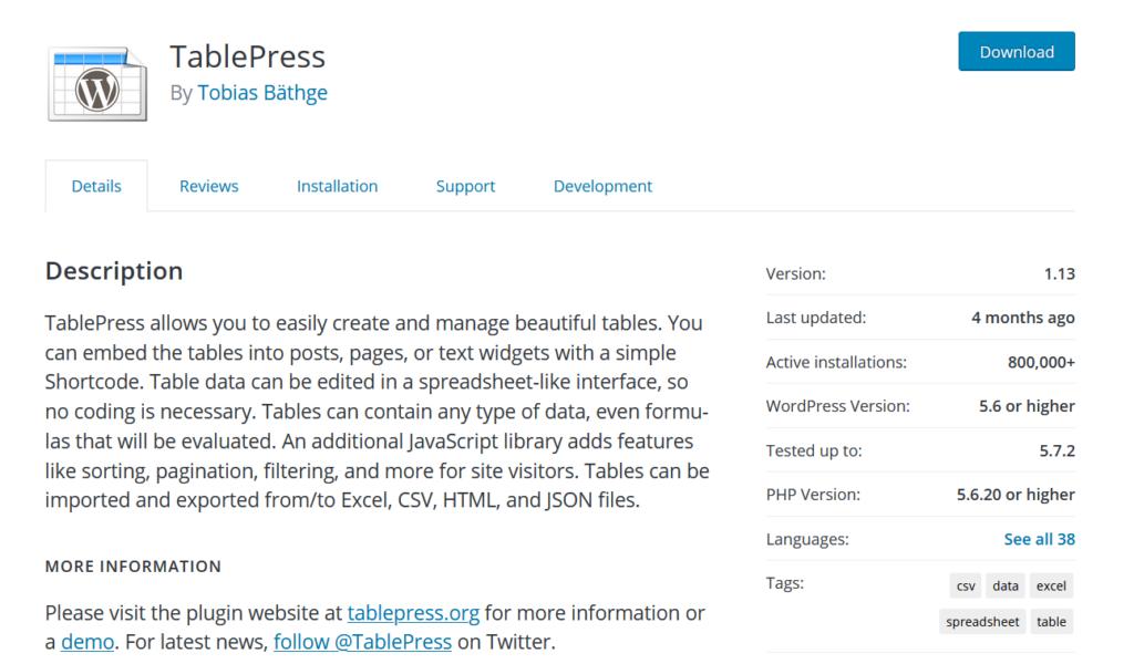 table plugins for wordpress - tablepress