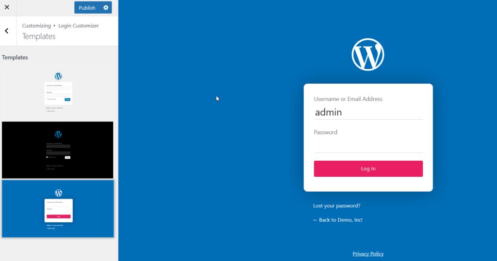 customize wordpress login page - templates