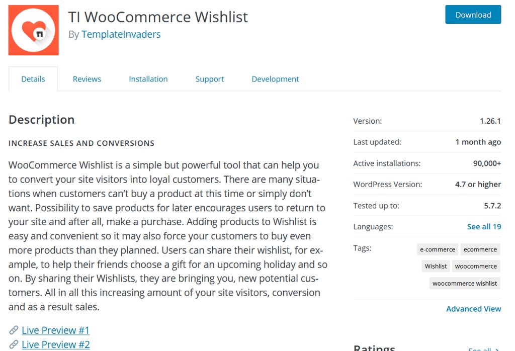woocommerce wishlist plugins - ti woocommerce wishlist