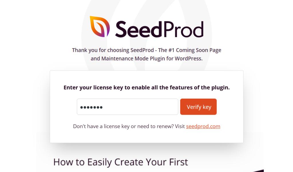 verify seedprod license key