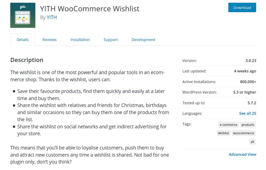 woocommerce wishlist plugins - yith woocommerce wishlist