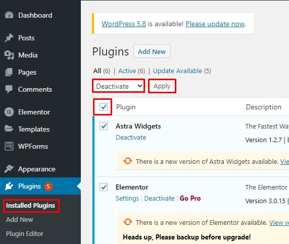How to Fix WordPress White Screen of Death (WSOD) - Deactivate all plugins