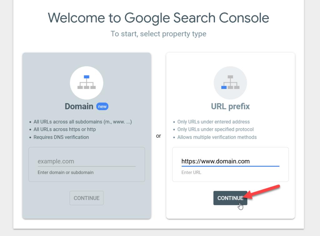 add WordPress site to Google Search Console - add google search console property