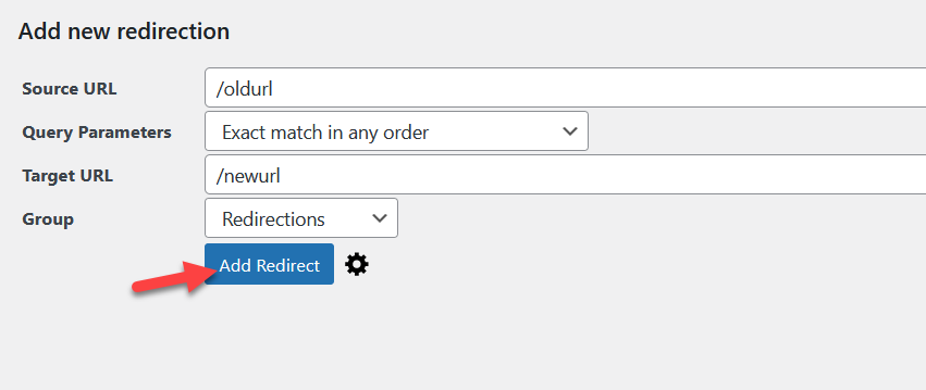 redirect a wordpress page - add new redirect