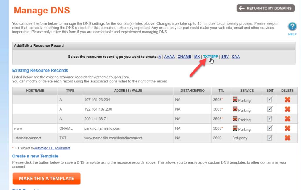 add WordPress site to Google Search Console - add txt record