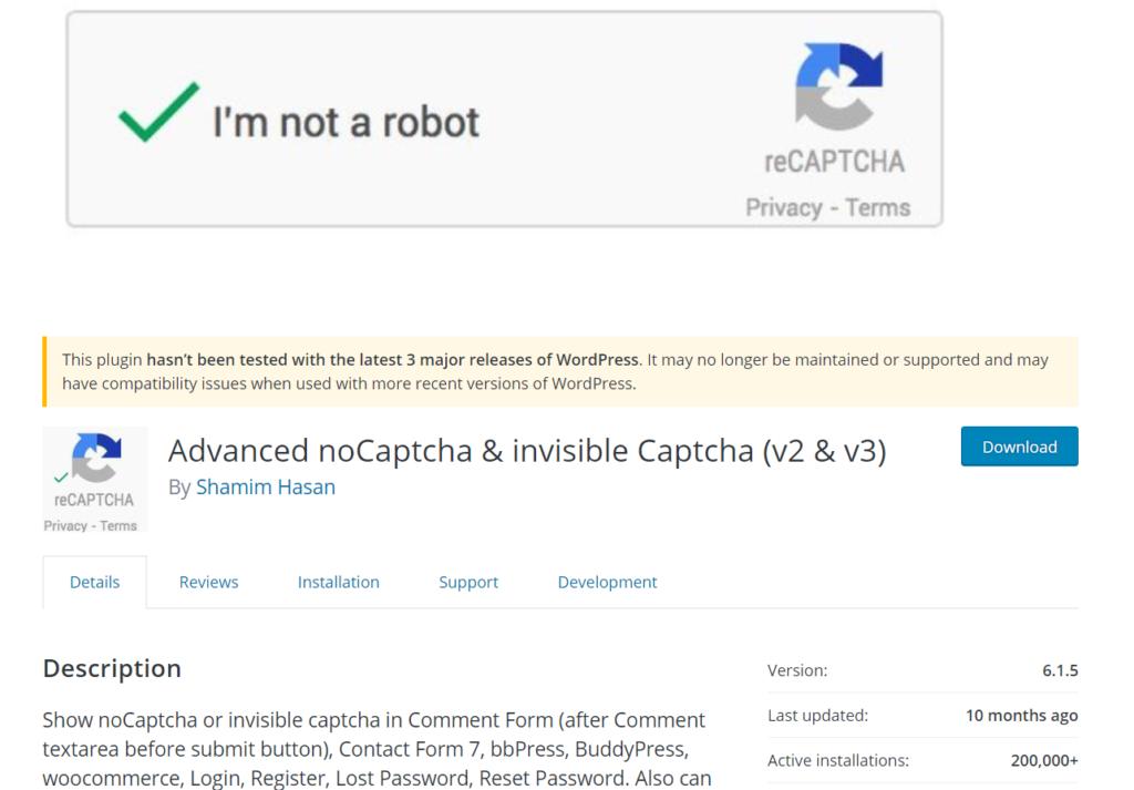 woocommerce captcha plugins - advanced nocaptcha plugin