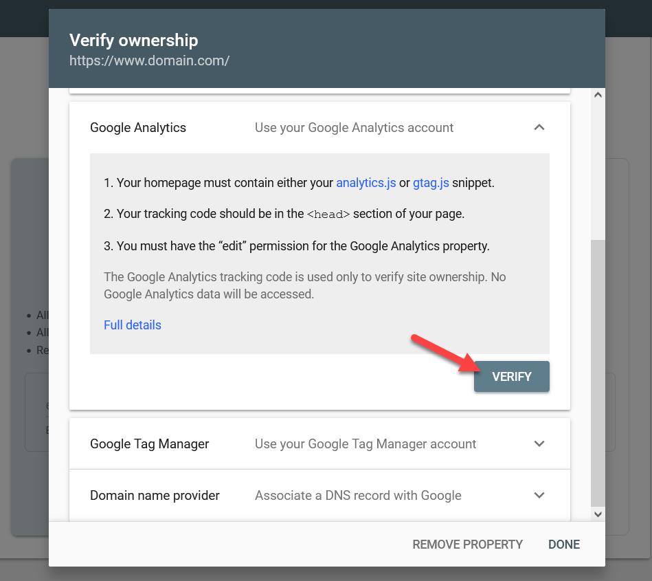 add WordPress site to Google Search Console - analytics verification