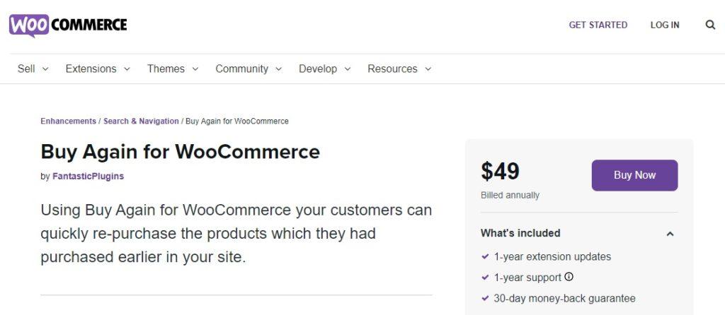 buy again for woocommerce repeat orders in woocommerce