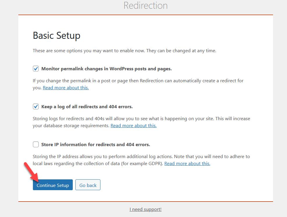 redirect a wordpress page - continue setup