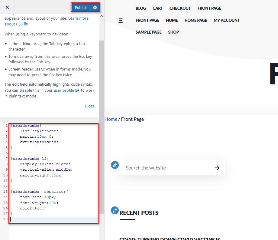 edit breadcrumbs in wordpress - add CSS
