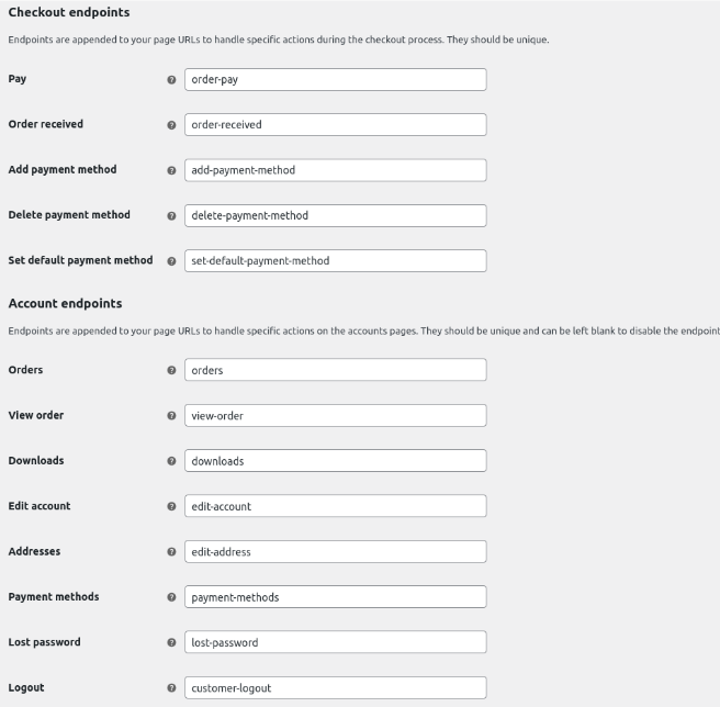 WooCommerce endpoints