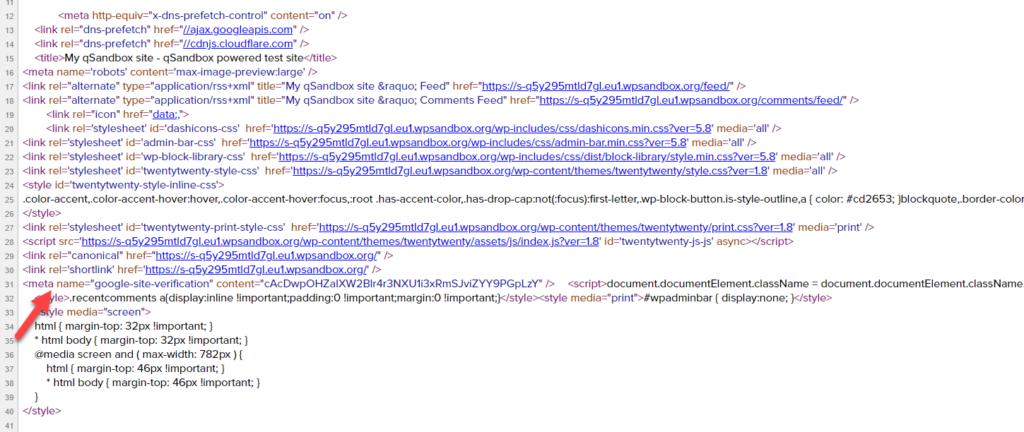 add WordPress site to Google Search Console - meta tag